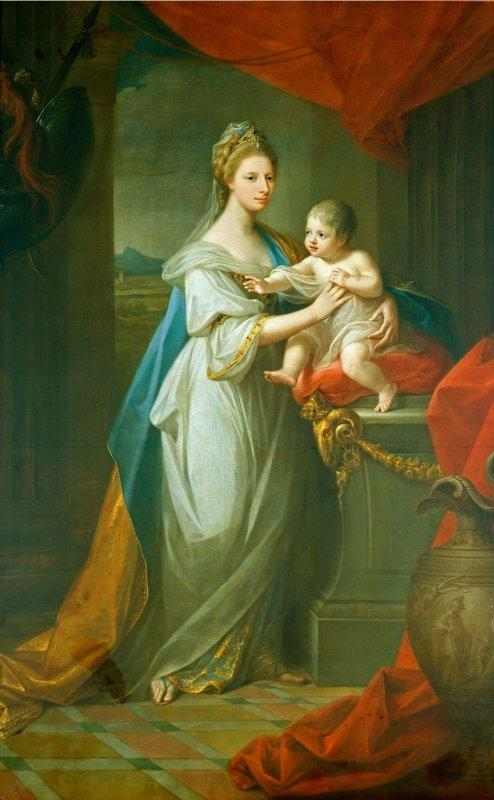 Portrait of Augusta of Hanover with her first born son Karl Georg of Brunswick - Angelica Kauffman