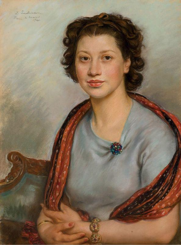 Portrait of Bertha Popoff in a red shawl - Zinaida Serebriakova