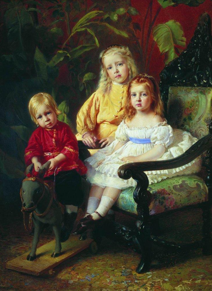Portrait of Children Stasovy - Konstantin Makovsky