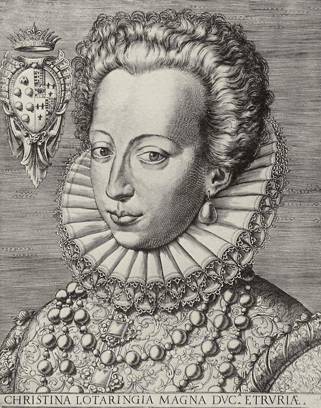 Portrait of Christine of Lorraine, Grand Duchess of Tuscany - Agostino Carracci