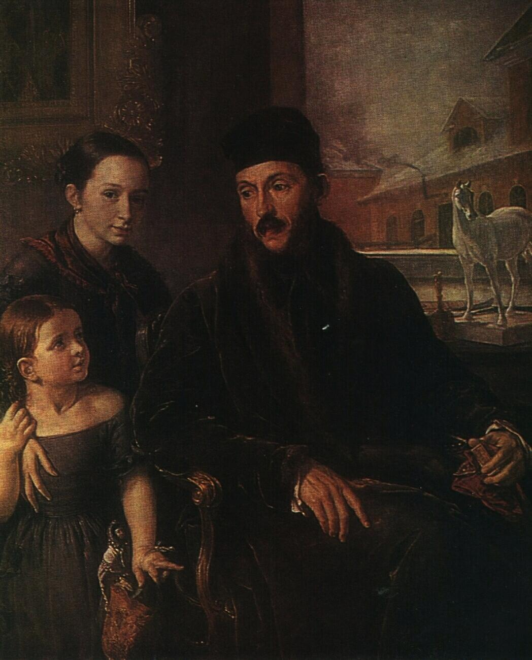 Portrait of D. P. Voyeikov with His Daughter and the Governess Miss Sorock - Vasily Tropinin