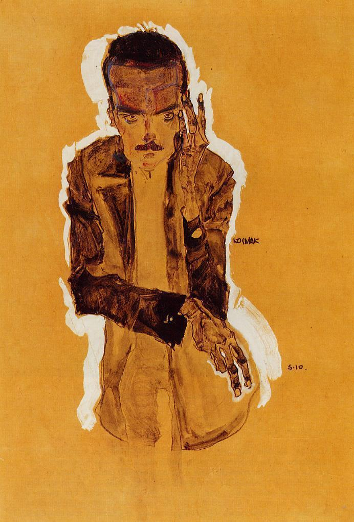 Portrait of Eduard Kosmack with Raised Left Hand - Egon Schiele
