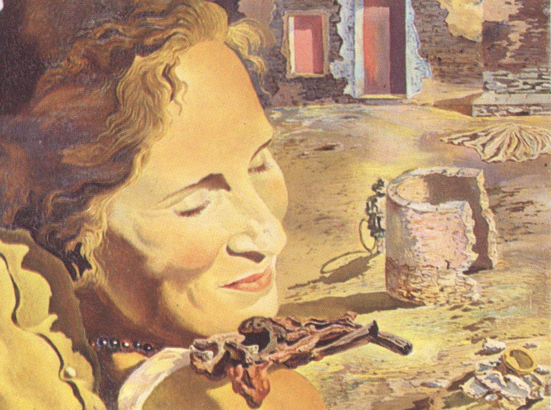 Portrait of Gala with Two Lamb Chops Balanced on Her Shoulder - Salvador Dali