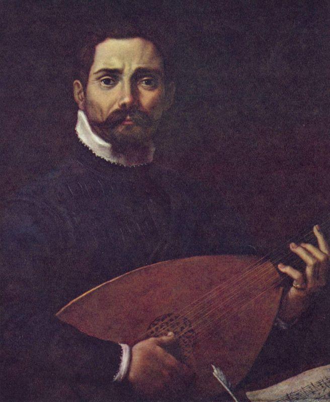 Portrait of Giovanni Gabrieli with the lute - Annibale Carracci