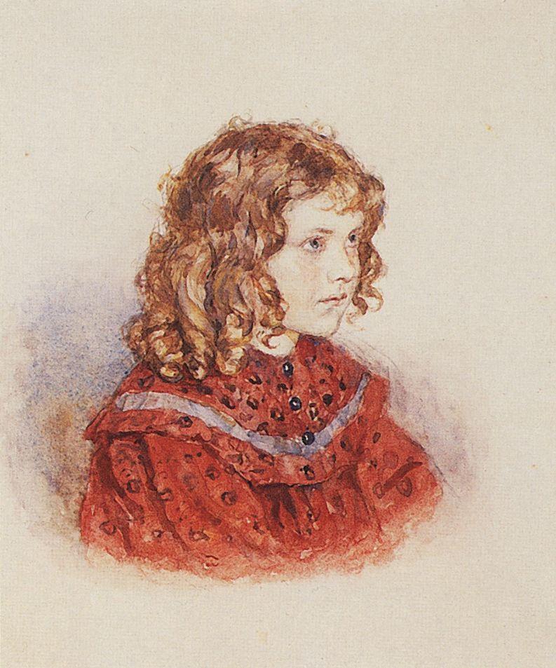 Portrait of girl with red dress - Vasily Surikov