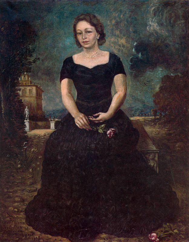 Portrait of Isa with rose in park - Giorgio de Chirico