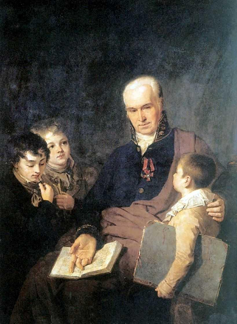 Portrait of K. I. Golovachevsky and the Younger Pupils of the Academy - Alexey Venetsianov