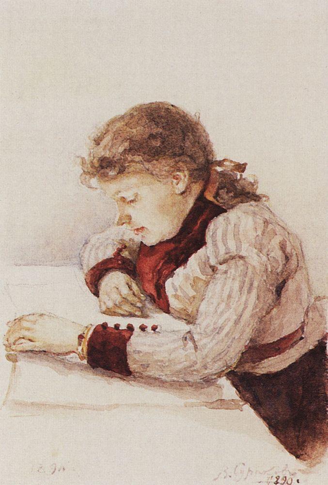 Portrait of K. M. Verkhoturova - Vasily Surikov