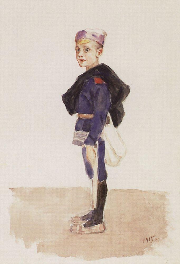 Portrait of M. P. Konchalovsky in childhood - Vasily Surikov