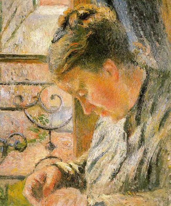 Portrait of Madame Pissarro Sewing near a Window - Camille Pissarro