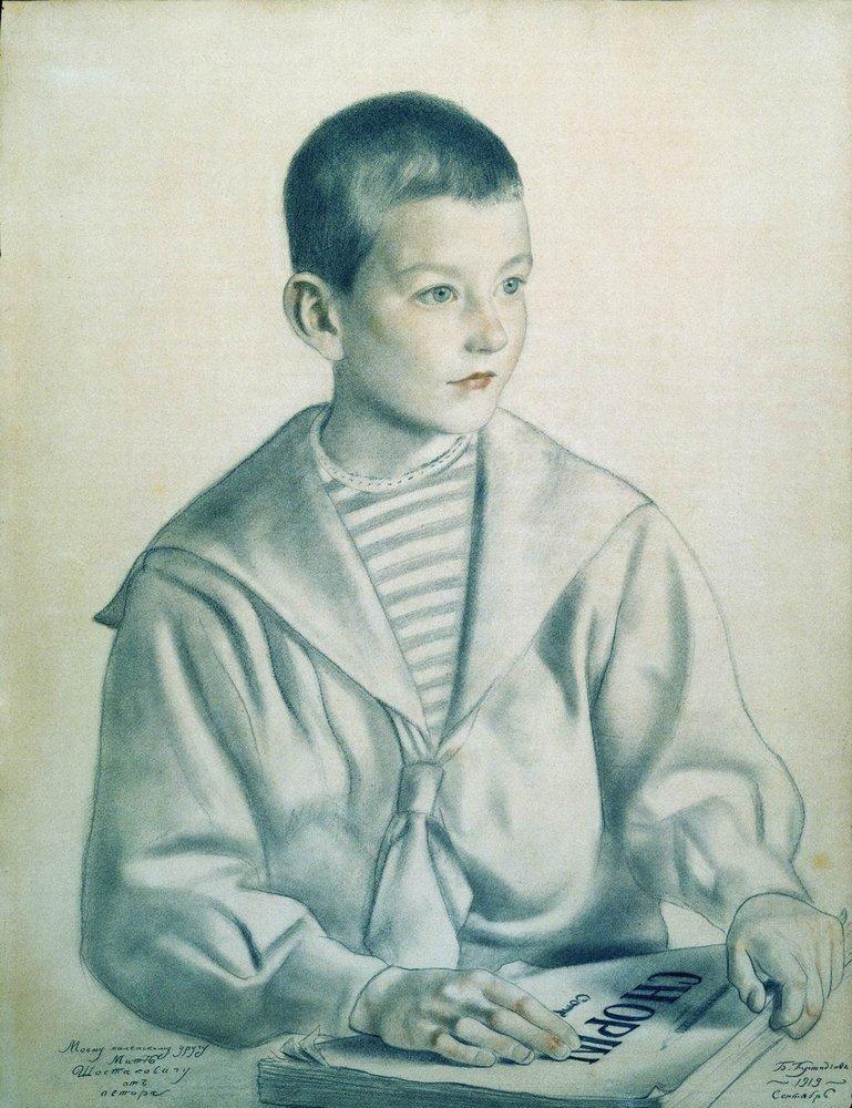 Portrait of Mitya Shostakovich - Boris Kustodiev