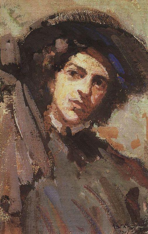 Portrait of Nadezhda Komarovskaya - Konstantin Korovin