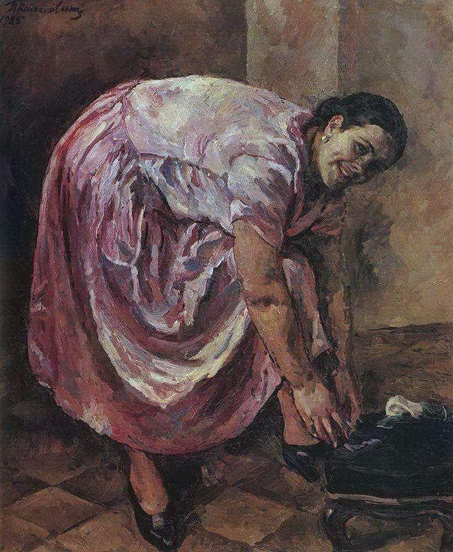 Portrait of Natalia Petrovna Konchalovsky, the artist's daughter (in pink dress) - Pyotr Konchalovsky