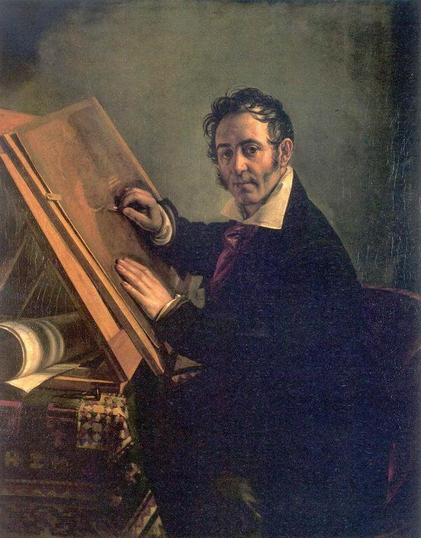 Portrait of Nikolai I. Utkin - Vasily Tropinin