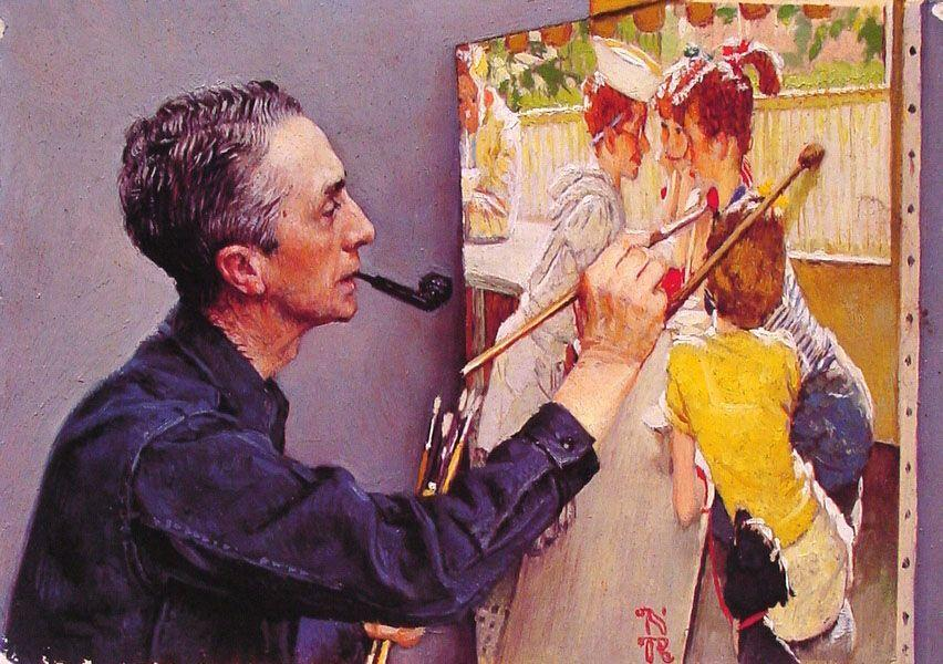 Portrait of Norman Rockwell Painting the Soda Jerk - Norman Rockwell