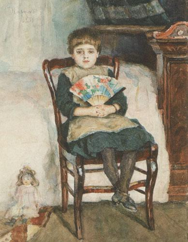 Portrait of Olga Surikova in childhood - Vasily Surikov