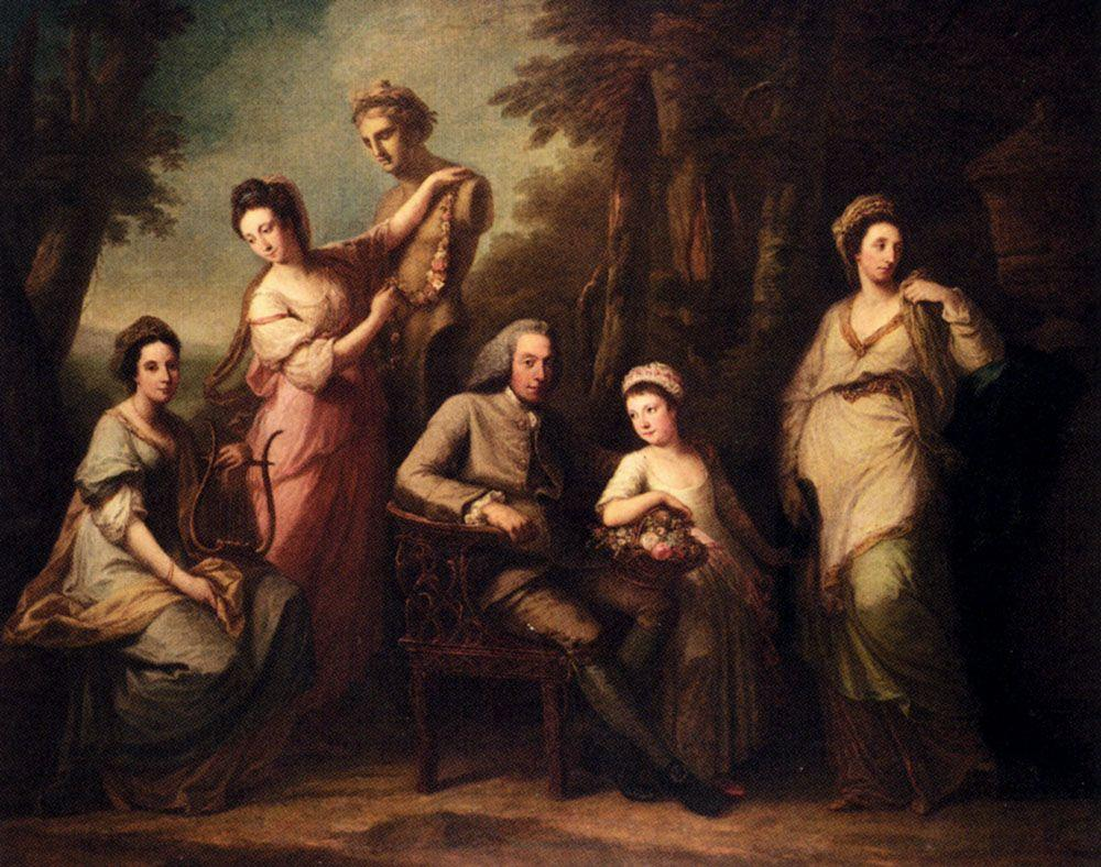 Portrait Of Philip Tisdall With His Wife And Family - Angelica Kauffman