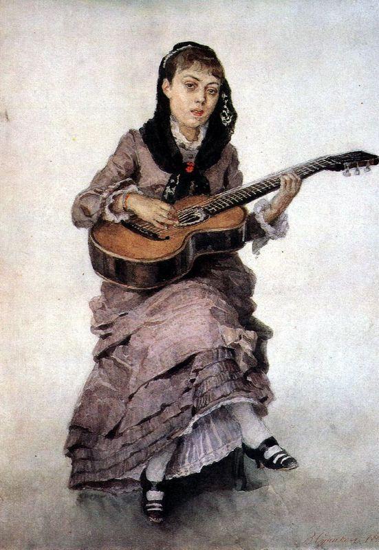 Portrait of princess S. A. Kropotkina with guitar - Vasily Surikov