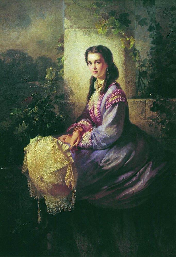Portrait of Princess S.Stroganova - Konstantin Makovsky