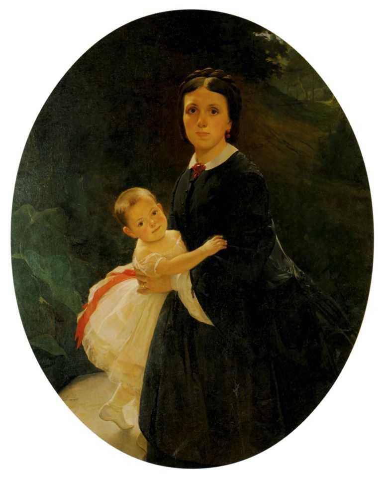 Portrait of Shestova with daughter - Nikolai Ge