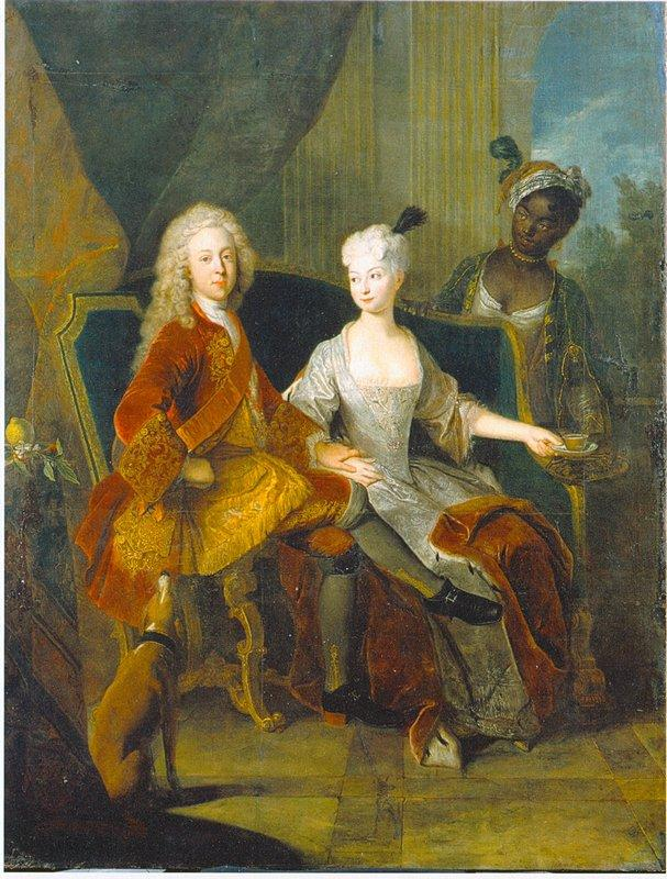 Portrait of the crown prince Friedrich Ludwig of Wurttemberg and his wife Henriette Marie of Brandenburg Schwedt - Antoine Pesne