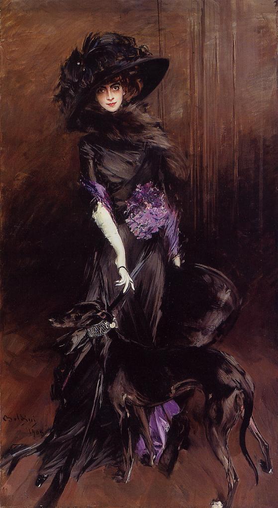 Portrait of the Marchesa Luisa Casati with a Greyhound - Giovanni Boldini