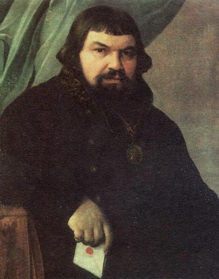 Portrait of the Merchant Obraztsov - Alexey Venetsianov