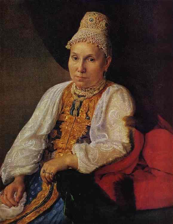 Portrait of the Merchant's Wife Obraztsova - Alexey Venetsianov