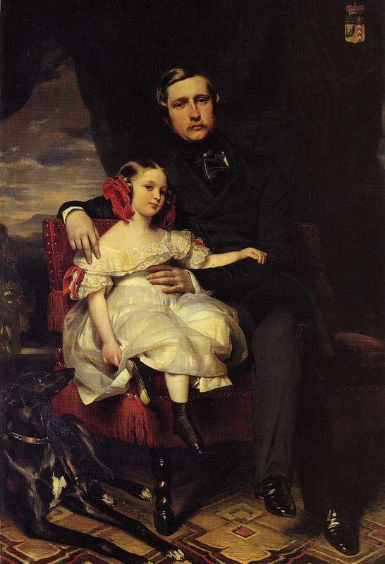 Portrait of the Prince de Wagram and his daughter Malcy Louise Caroline Frederique Napoleon Alexandre Berthier - Franz Xaver Winterhalter