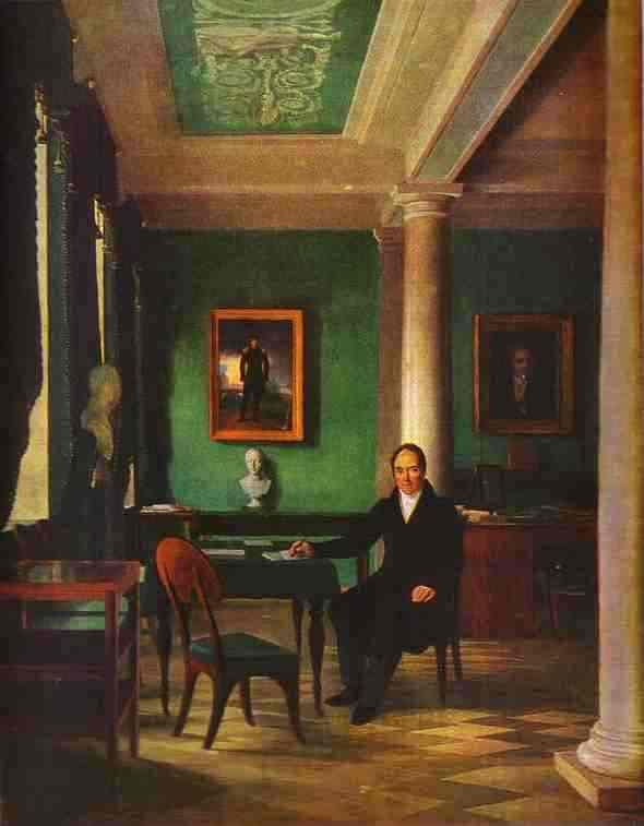 Portrait of the State Chancellor of the Internal Affairs, Prince Victor Pavlovich Kochubey in his Study - Alexey Venetsianov