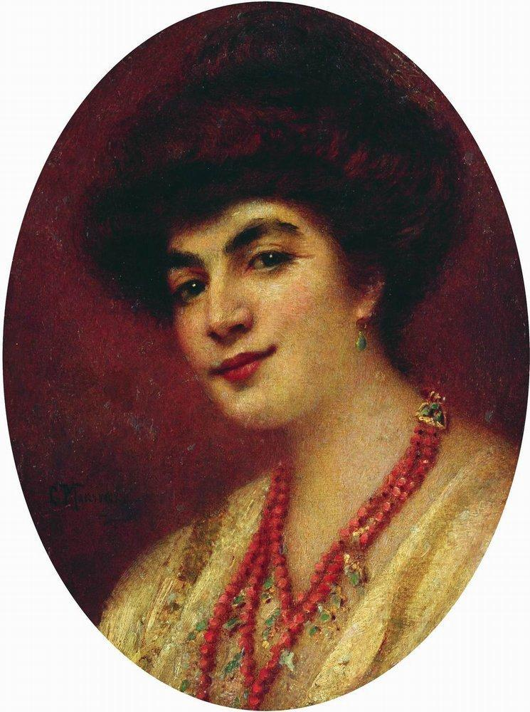 Portrait of the Woman with Coral Beads - Konstantin Makovsky