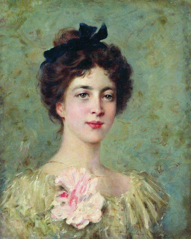 Portrait of the Young Lady with Pink Bow - Konstantin Makovsky