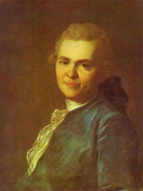 Portrait of Unknown Man in a Blue Caftan - Fyodor Rokotov
