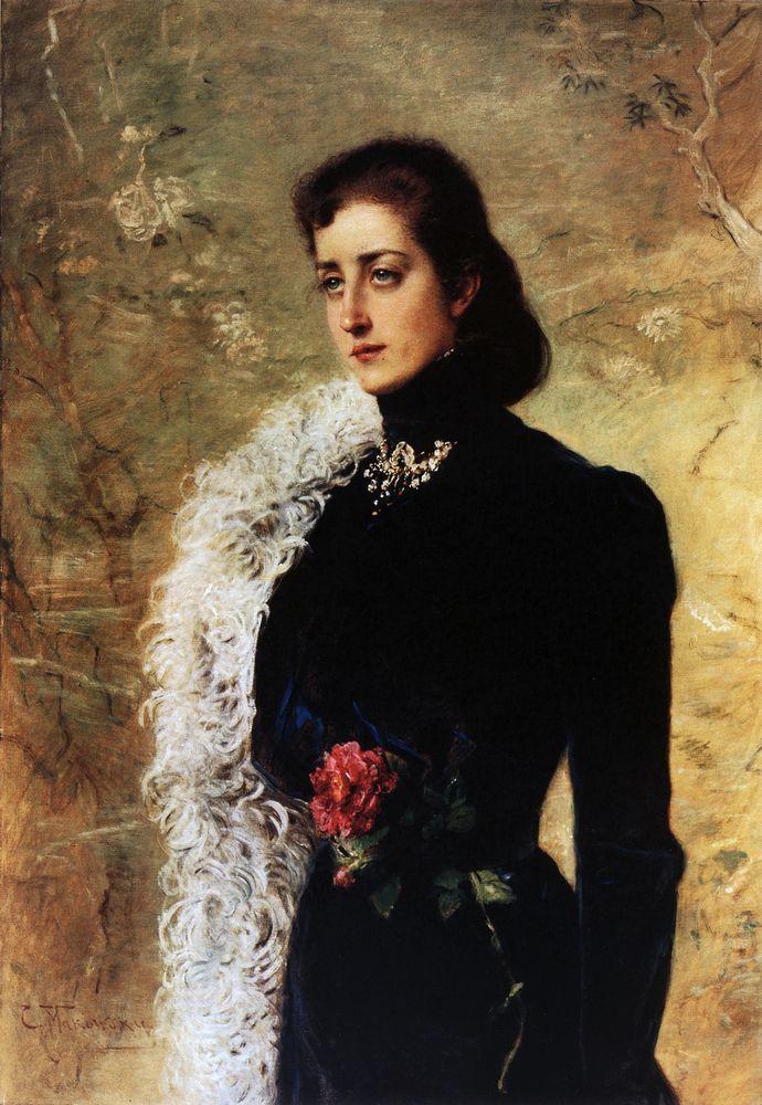 Portrait of V.Bahrushina - Konstantin Makovsky
