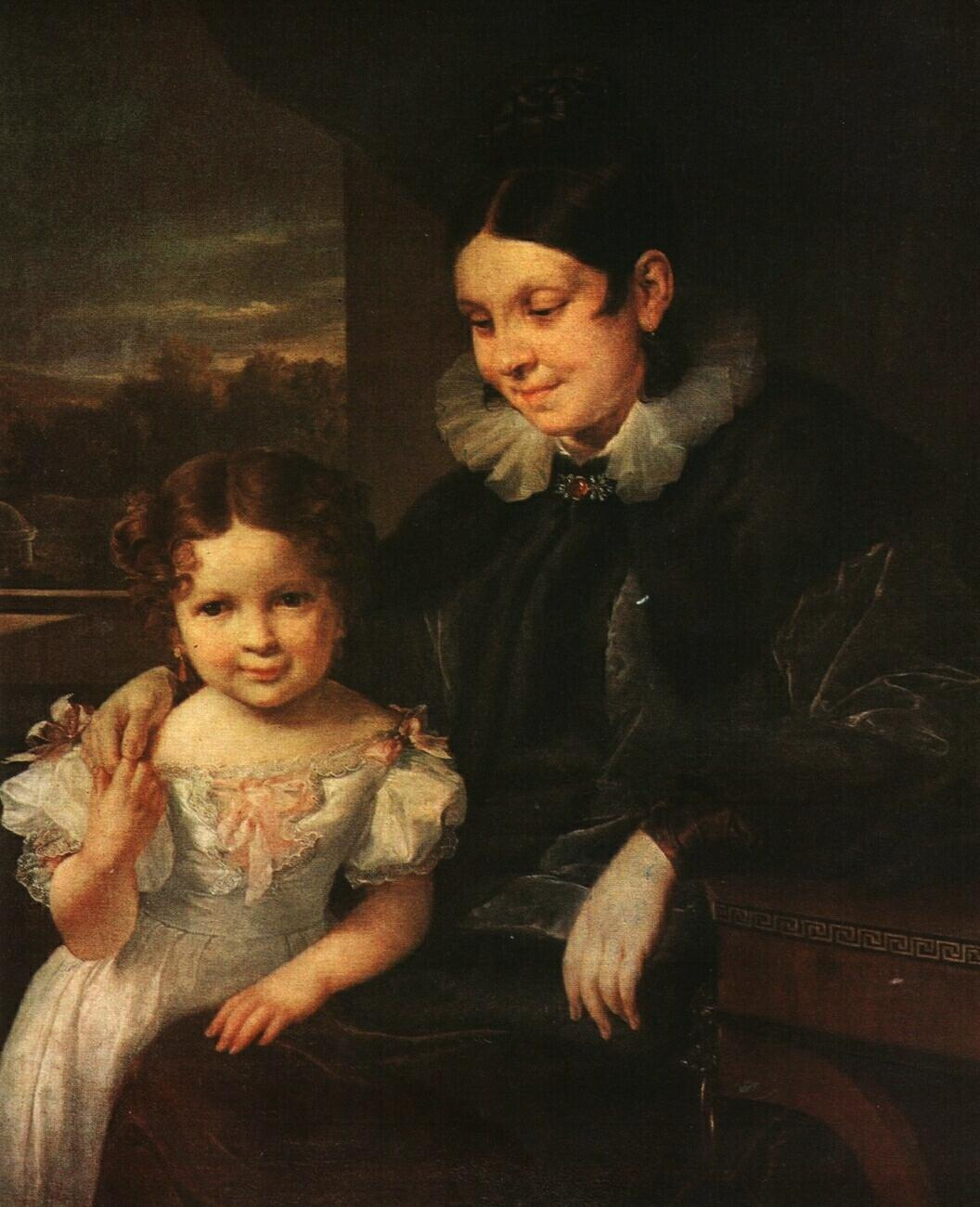 Portrait of V. I. Yershova with Her Daughter - Vasily Tropinin