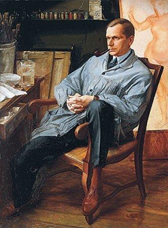 Portrait of Vasily Shuhaev in his Studio - Alexandre Jacovleff