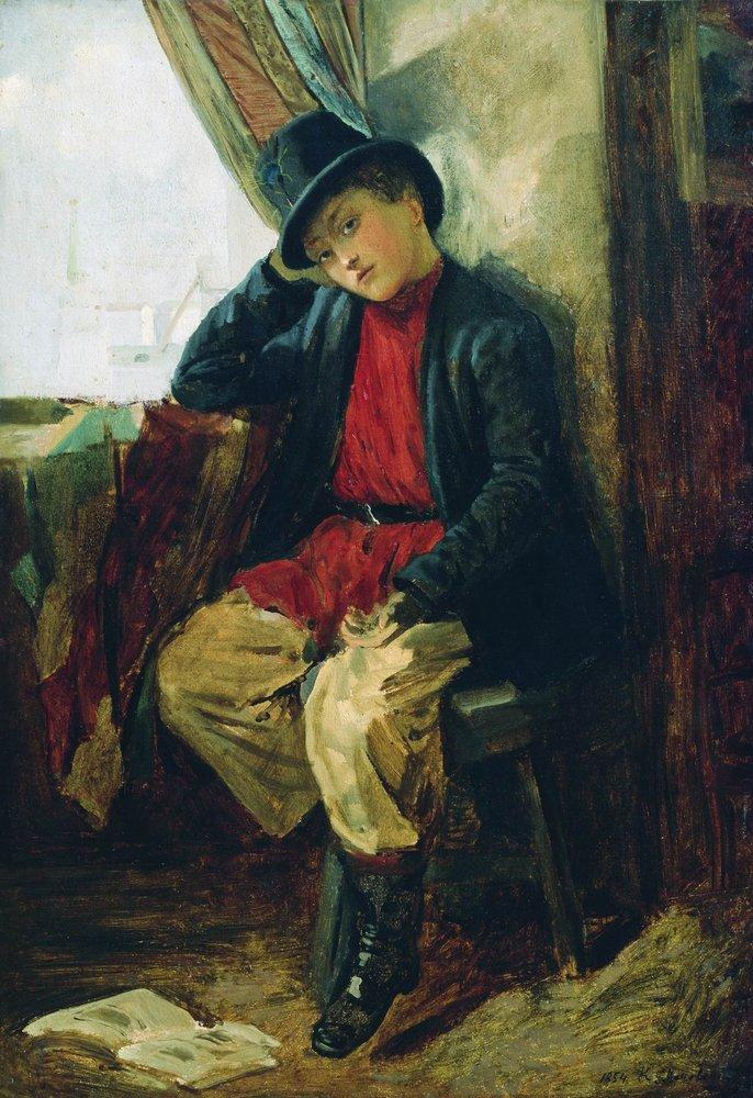 Portrait of Vladimir Makovsky in Childhood - Konstantin Makovsky