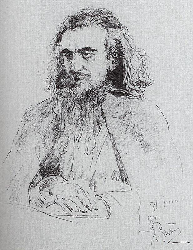 Portrait of Vladimir Sergeyevich Solovyov - Ilya Repin