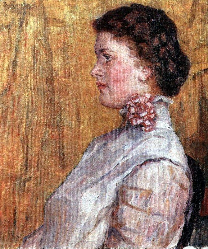 Portrait of woman with yellow background - Vasily Surikov