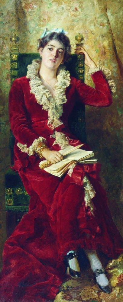 Portrait of Y.Makovskaya - Konstantin Makovsky