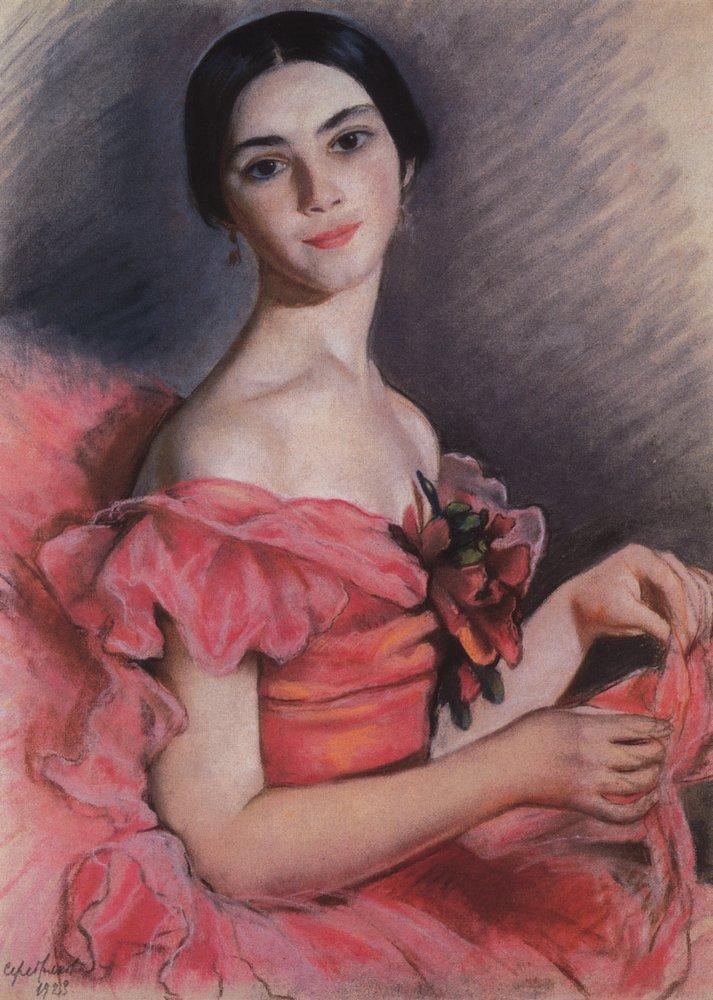 Portrait of Yekaterina Heidenreich in Red - Zinaida Serebriakova