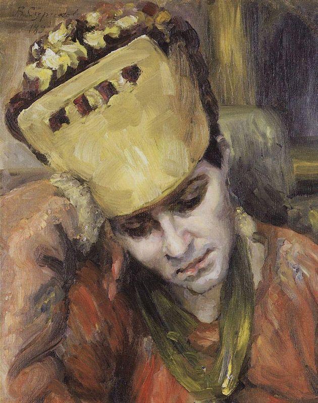 Portrait of young woman with kokoshnik - Vasily Surikov