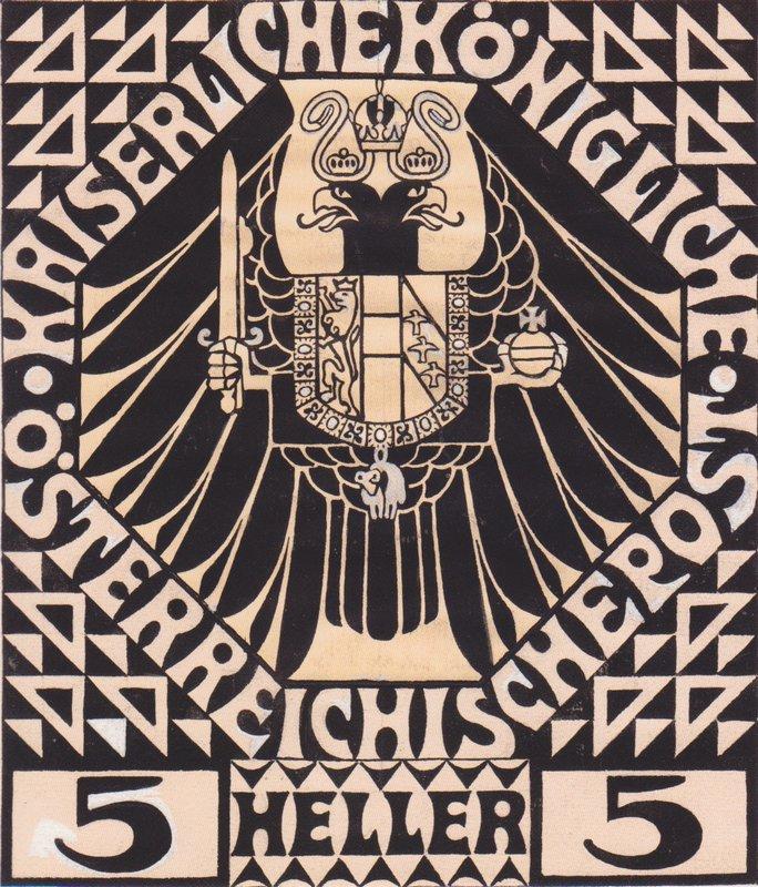 Postage stamp design for mail postal (not issued) - Koloman Moser
