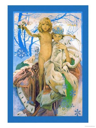 Poster presentation of Andersen's Snow Queen - Alphonse Mucha