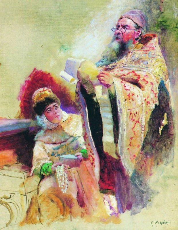 Priest and Boyarynia - Konstantin Makovsky