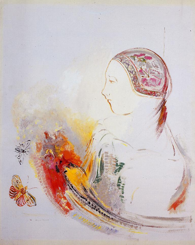 Profile of a Child (Profile of a Girl with Bird of Paradise) - Odilon Redon