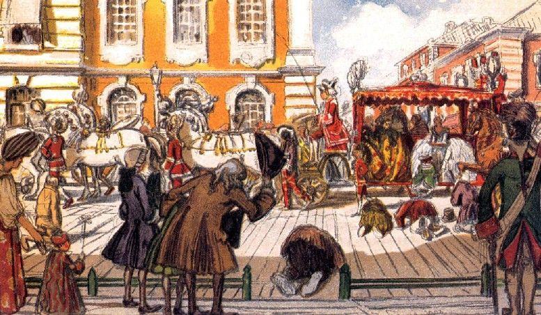 Promenade of Empress Elizabeth through the Noble Streets of St Petersburg - Alexandre Benois