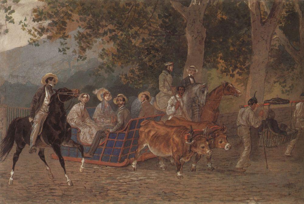 Promenade. Portrait of the Duke of Leuchtenberg, E. Mussart, Ye. I. Mussart, Prince P. R. Bagration, Princess A. A. Bagration, M. I. Zheleznov, N. A. Lukashevich, and K. Bruloff - Karl Bryullov