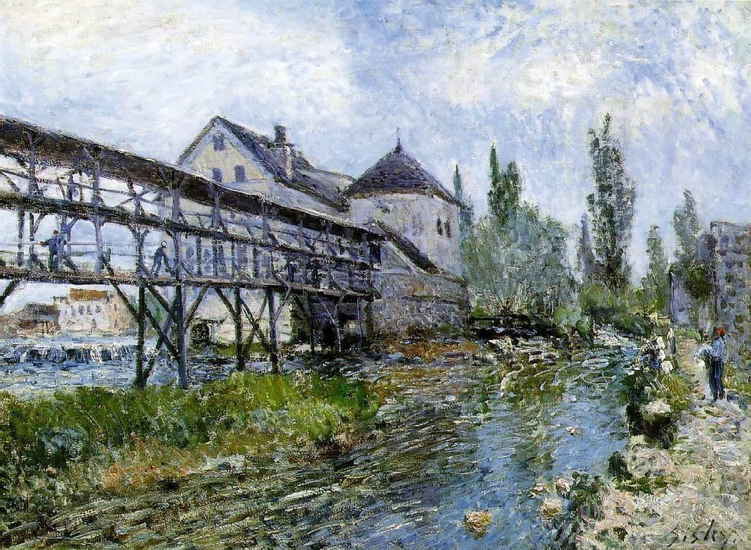Provencher s Mill at Moret - Alfred Sisley