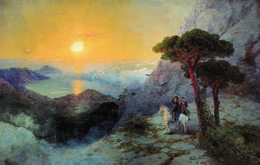 Pushkin at the top of the Ai-Petri Mountain at sunrise - Ivan Aivazovsky
